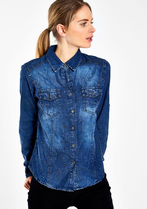 Jeans hemd met pailletten lolaliza for Jeanshemd lang