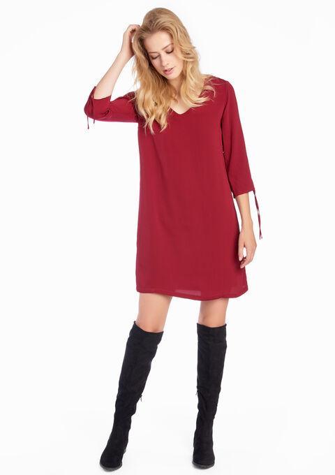 Effen jurk met 3/4 mouwen - BERRY BORDEAUX - 08005293_1475
