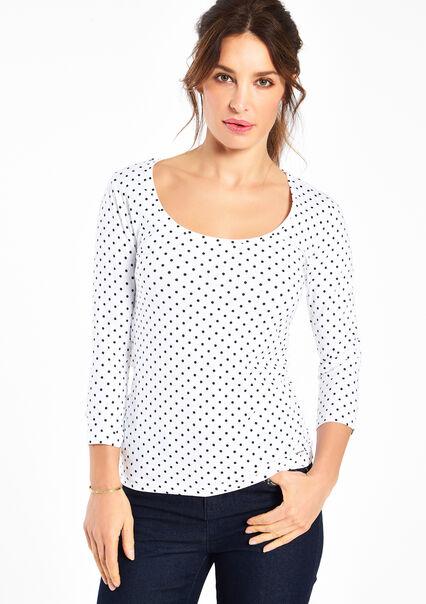 T-shirt moulant imprimé, manches 3/4 - OPTICAL WHITE - 02005341_1019