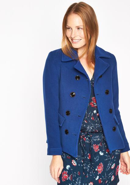 Mantel met dubbele rij knopen, 2 zakken - BLUE FLASH - 12000517_1713