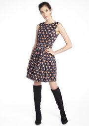 Plissée jurk met print - BLACK - 08005389_1119
