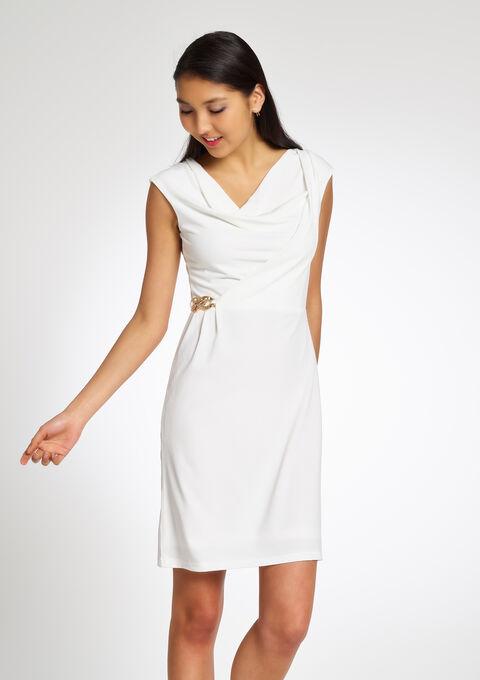 Robe unie drapée avec boucle - IVORY WHITE - 08004234_1011