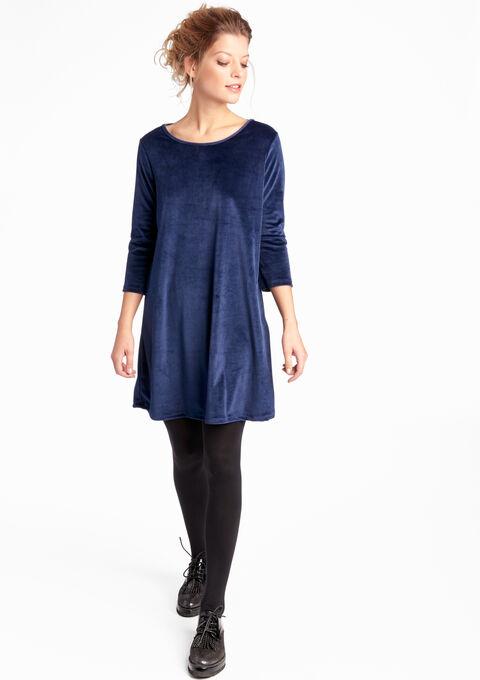 Fluwelen jurk met details op de rug - NAVY MARINE - 08005487_1650