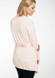 Long cardigan ceinture satin - CLOUD PINK - 04800144_1318