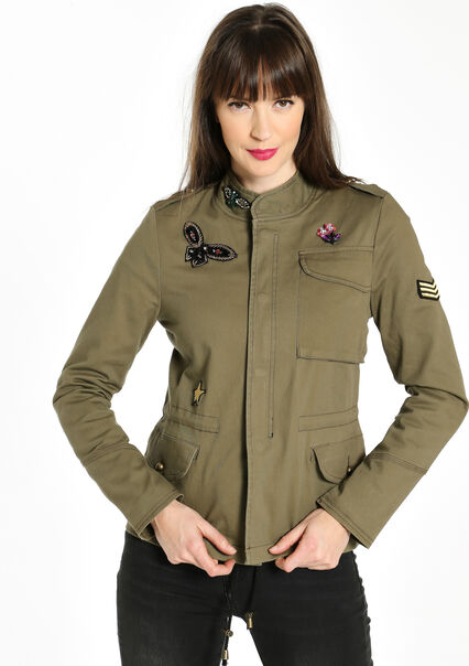 Militaire jas met decoratieve patches - LIGHT OLIVE - 12000543_1840