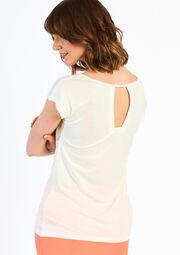 Effen T-shirt met strass - IVORY WHITE - 02005054_1011