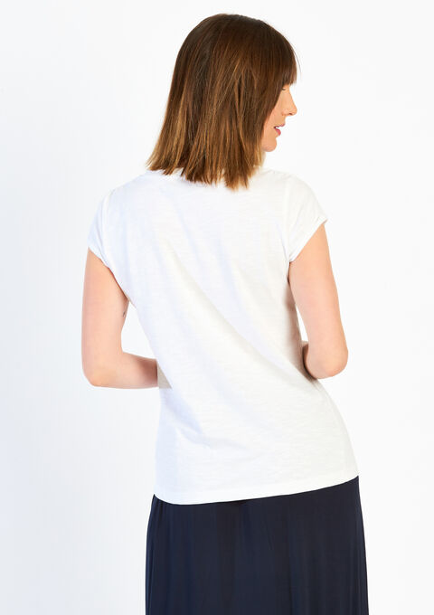 Effen T-shirt met omkeerbaar motief - OPTICAL WHITE - 02004737_1019