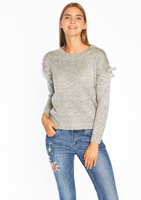 Pull avec volant et perles décoratives - LIGHT GREY MEL - 04004058_1061