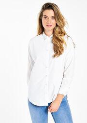 Effen blouse met strass-kraagje, , hi-res