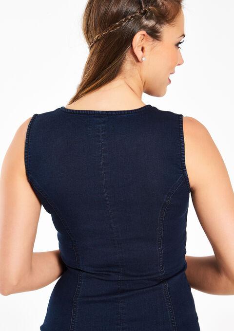 Jeansjurk zonder mouwen - DARK BLUE - 08005494_501