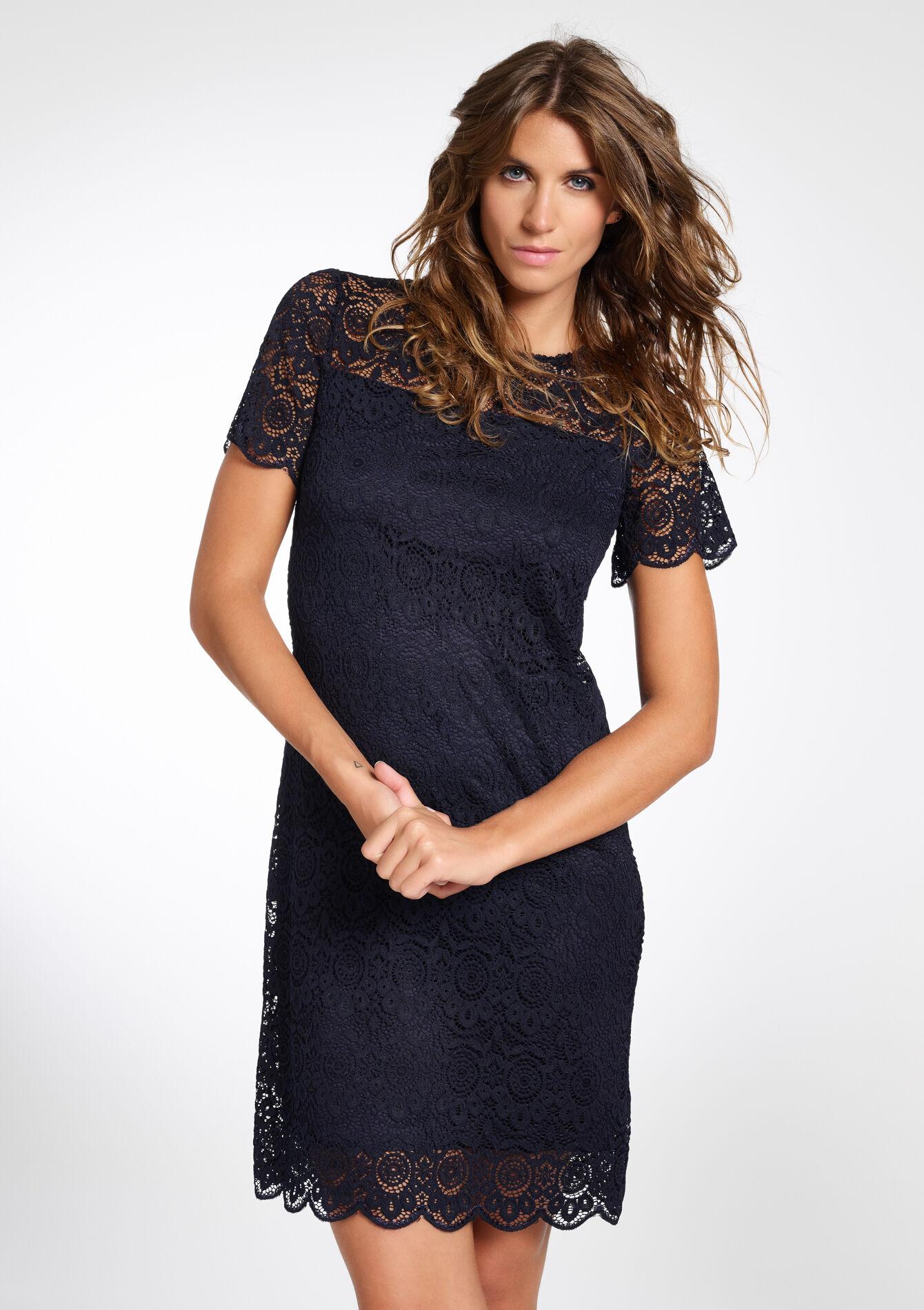 Kanten jurk met korte mouw