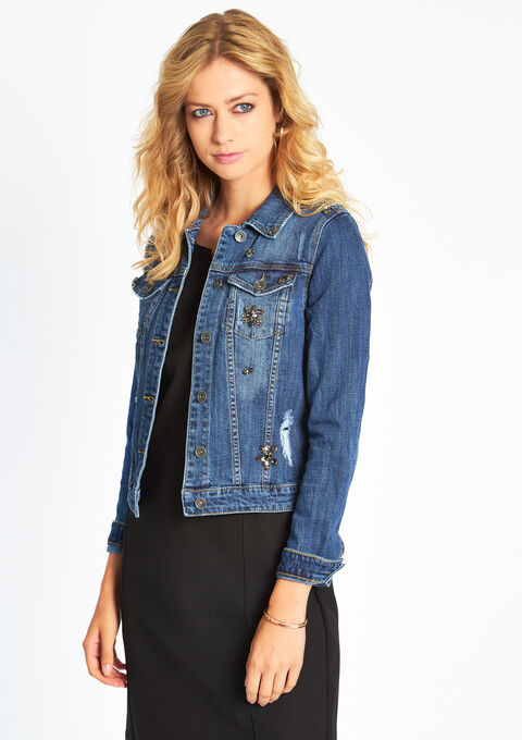 Jeans jas met studs - DARK BLUE - 09000984_501