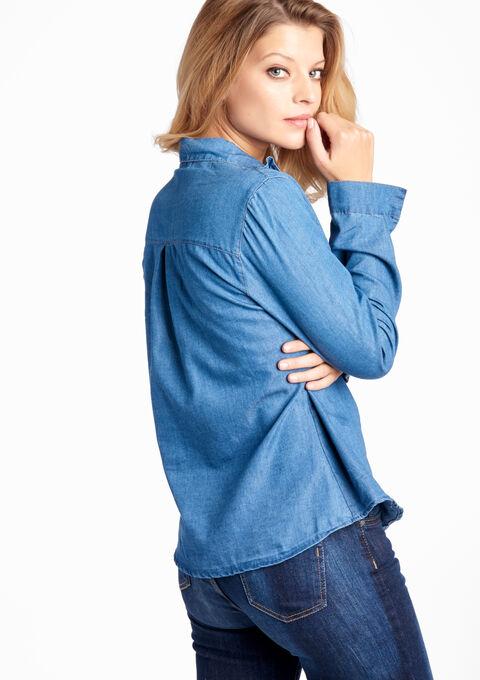 Jeans blouse met ruches - MEDIUM BLUE - 05003124_500