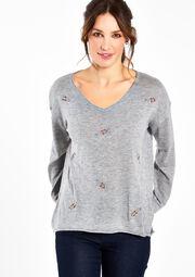 V-hals trui met geborduurde pluimpjes, , hi-res