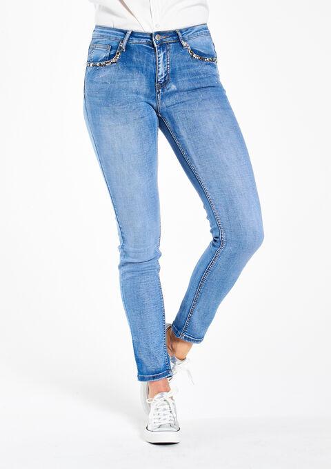 Slim jeans met strass & pailletten - LIGHT BLUE - 06003483_1709