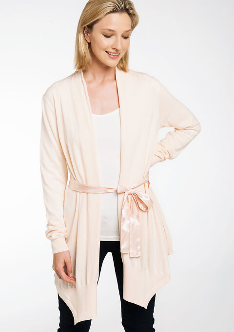 Long cardigan ceinture satin - CLOUD PINK - 04800144_1318