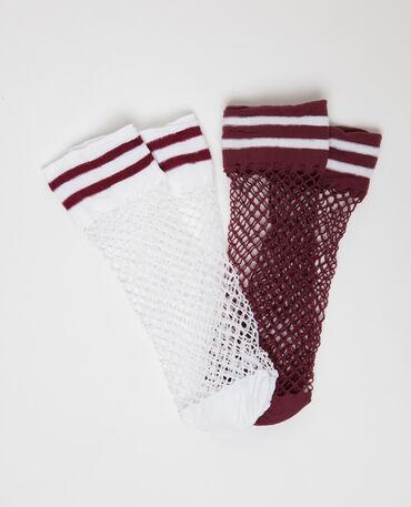 Lot de 2 paires de chaussettes résille prune