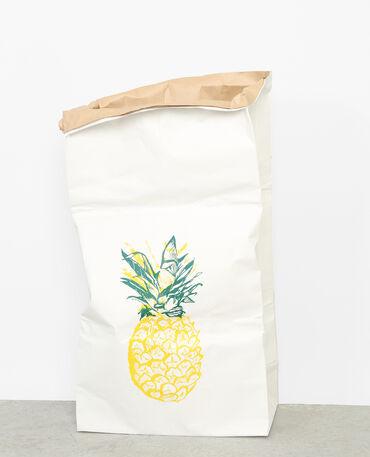 Grand paper bag ananas blanc cassé