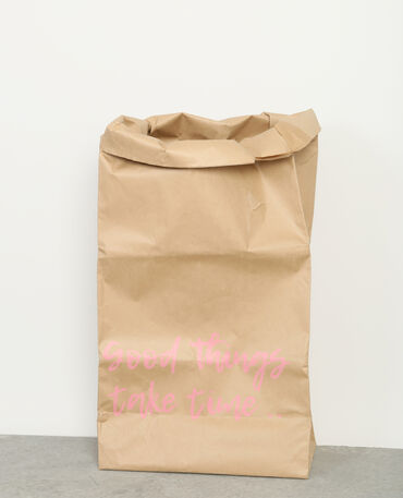Grand paper bag à message brun