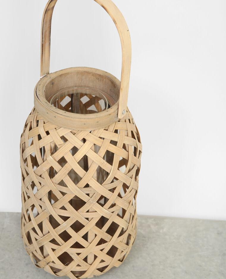 Photophore bambou tressé beige
